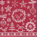 """Serviettes en papier """"Motifs de Noël"""" rouge/blanc, 33 cm x 33 cm, 20 pièces"""