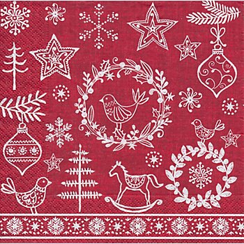 Serviettes en papier 'Motifs de Noël' rouge/blanc, 33 cm x 33 cm, 20 pièces