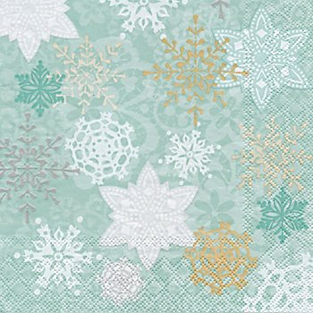 Serviettes en papier 'flocons de neige', bleu, 33 x 33 cm, 20 pièces