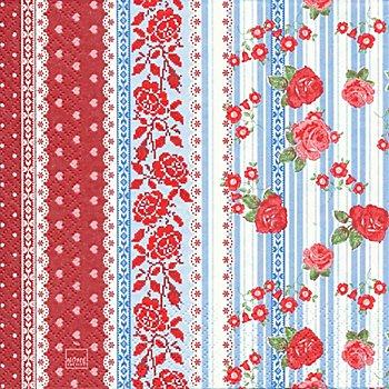 Serviettes en papier 'Bordure de roses', 33 x 33 cm, 20 pièces