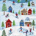 """Serviettes en papier """"sports d'hiver"""", 33 x 33 cm, 20 pièces"""