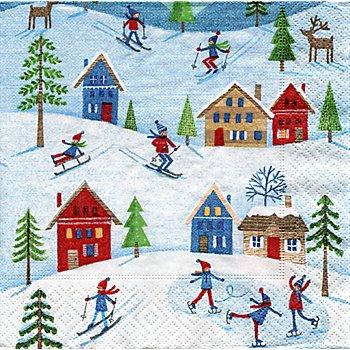 Serviettes en papier 'sports d'hiver', 33 x 33 cm, 20 pièces