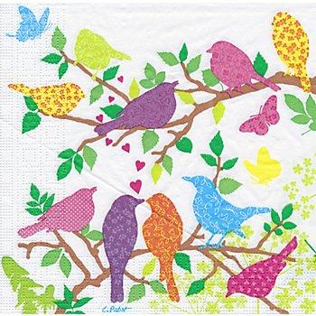 Papierservietten 'Vögel bunt', 33 x 33 cm, 20 Stück