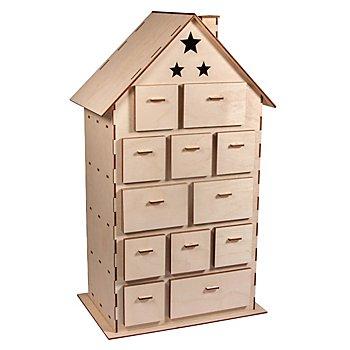 Holzbausatz 'Adventskalenderhaus', 25,5 x 17,5 x 45,5 cm