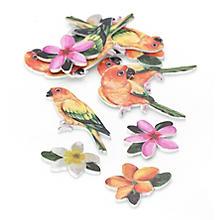 Streuteile 'Blüte und Papagei', 2 - 3 cm, 24 Stück