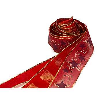 Bänderpaket 'Weihnachten', rot-gold, 25–40 mm, 2x 2 m, 1x 3 m