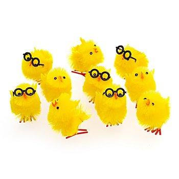 Poussins en chenille avec lunettes, jaune, 10 pièces