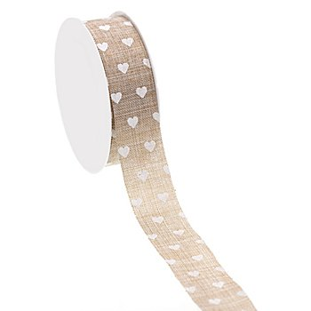 Band in Leinenoptik 'Herzen', taupe-weiss, 25 mm, 5 m