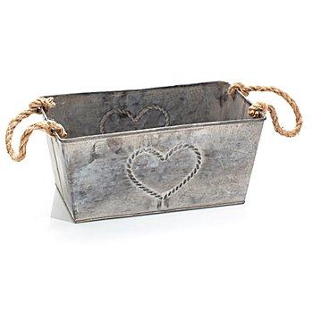 Cache-pot en métal 'cœur', 26 x 15 x 12 cm