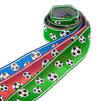 Set de rubans 'football', vert/rouge/bleu, 40 mm, 3x 2 m