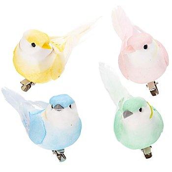 Vögel mit Federn, 10 cm, 4 Stück