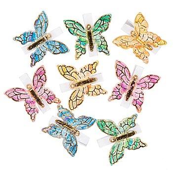 Papillons avec pince, 4 x 3,5 cm, 8 pièces