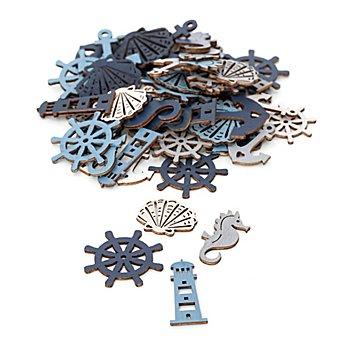 Confettis de table 'mer', crème/bleu clair/gris/bleu foncé, 2,5-4,5 cm, 60 pièces