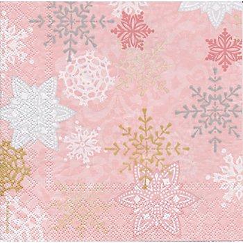 Serviettes en papier 'flocons de neige', rose, 33 x 33 cm, 20 pièces