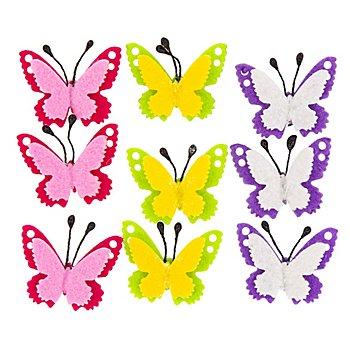 Filz-Schmetterlinge, 3,5 x 4 cm, 9 Stück