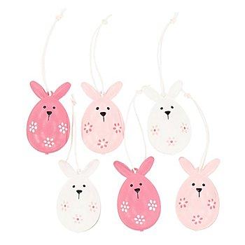 Motifs en métal à suspendre 'lapin de Pâques', rose/blanc/rose vif, 5 cm, 6 pièces