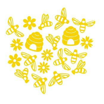 Streuteile 'Bienen', gelb, 3–6 cm, 20 Stück