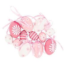 Kunststoff-Eier, pink-weiß, 4 cm und 6 cm, 12 Stück