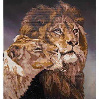 Diamantenstickerei-Set 'Löwenpaar', 38 x 42 cm
