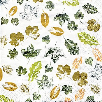 Serviettes en papier 'feuilles', 33 x 33 cm, 20 pièces