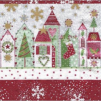 Papierserviette 'Rote Häuser', 33 x 33 cm, 20 Stück