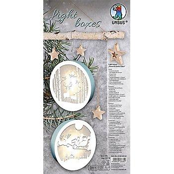 Ursus Bastelset Light boxes 'Waldtiere und Weihnachtsmann', 15,3 cm Ø