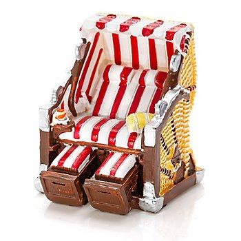 Mini-fauteuil-cabine en osier, rouge/blanc, 6,5 cm