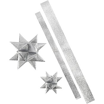 Papierstreifen-Set Fröbelsterne 'Outdoor', silber, 16 Streifen