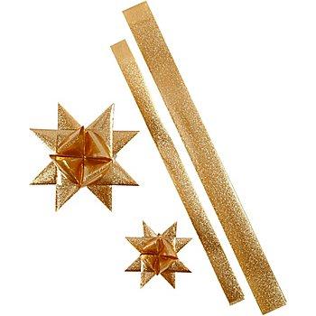 Papierstreifen-Set Fröbelsterne 'Outdoor', gold, 16 Streifen