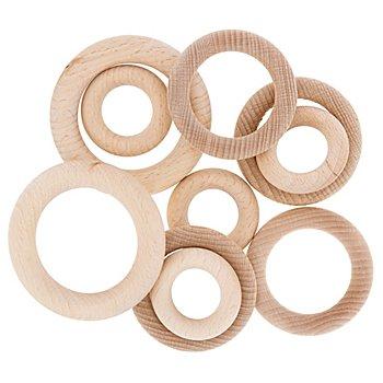 Buchenholzringe-Set, 10 Stück, 40, 56, 70 mm