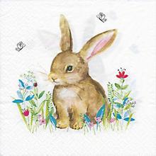 Serviettes en papier 'lapin dans un pré fleuri', 33 x 33 cm, 20 pièces