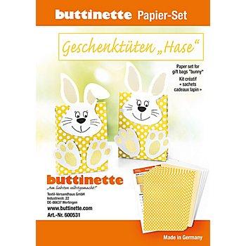 Papier-Set Geschenktüten 'Hase', gelb, 5 Tüten