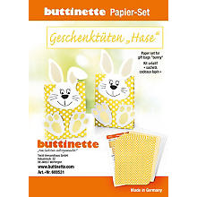 Kit créatif en papier 'sachets cadeaux - lapin', jaune, 5 sachets
