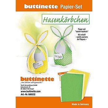 Papier-Set 'Hasenkörbchen', gelb & grün, 4 Körbchen