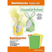 Kit créatif en papier 'paniers de Pâques - lapin', jaune-vert, 4 paniers
