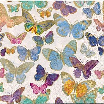Serviettes en papier 'papillons dorés', 33 x 33 cm, 20 pcs.