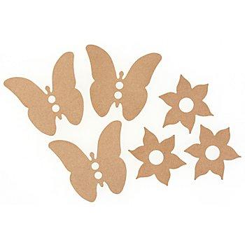 MDF-Schmetterling und Blume, 6 Stück