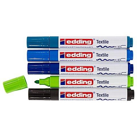 Image of edding Textilmarker, Blautöne, 5 Stifte
