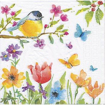 Serviettes en papier 'oiseau printemps', 33 x 33 cm, 20 pcs.