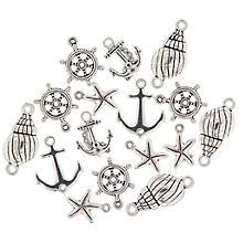 Set de pendentifs 'maritime', argenté, 16 pièces