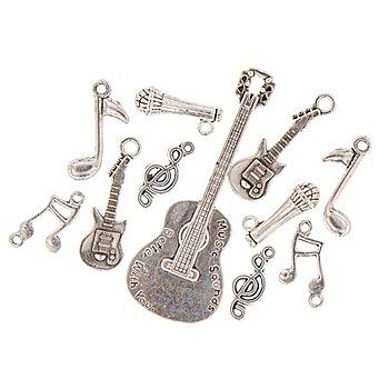 Pendentifs 'musique', argenté, 2 - 8 cm, 11 pièces