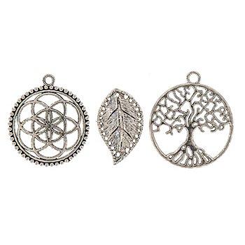 Set de pendentifs 'nature', argenté, 3 pièces