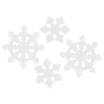 Styropor-Schneeflocken, 15,5 cm und 21,5 cm, 4 Stück