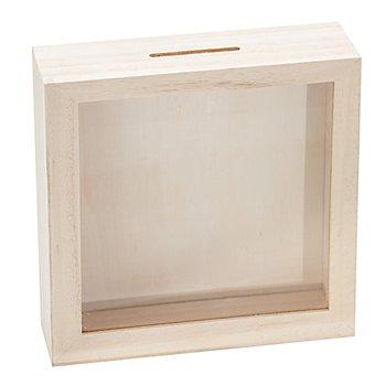 Spardose 'Rahmen' aus Holz, 17 x 17 cm