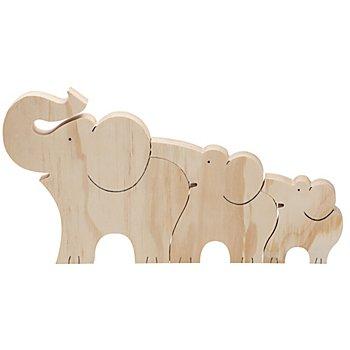 Famille de 3 éléphants en bois, 30 x 16 cm