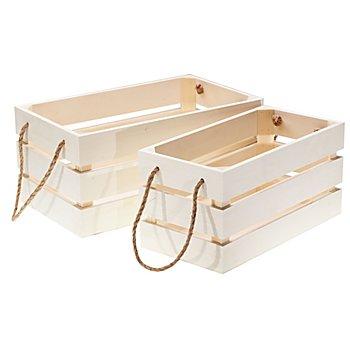 Caisses en bois, 30,5 et 35 cm, 2 pièces