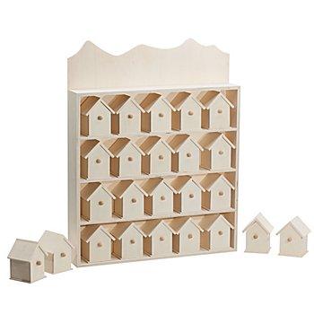 Adventskalender 'Häuser' aus Holz, 40 x 32 cm