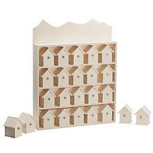 Calendrier de l'Avent 'maisons' en bois, 40 x 32 cm
