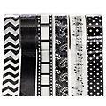 Ruban adhésif Washi-Tape, noir-blanc, 15 mm, 30 m