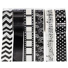 Washi-Tape, schwarz-weiss, 15 mm, 30 m